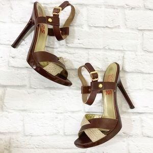 Michael Kors strappy sandal, brown leather jute